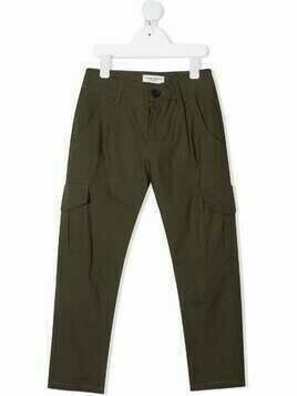 Paolo Pecora Kids box-pleat straight-leg trousers - Green