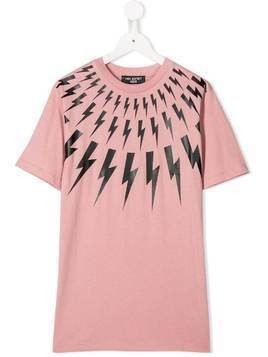 Neil Barrett Kids thunder bolt T-shirt - PINK