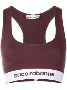 Paco Rabanne racer back logo cropped top - Red