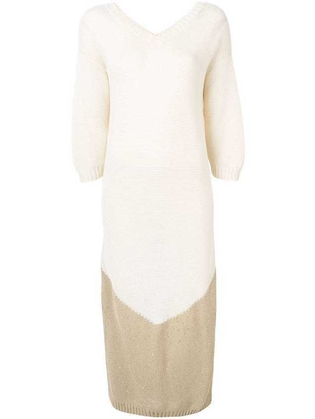 Lorena Antoniazzi long knitted Dress - Neutrals