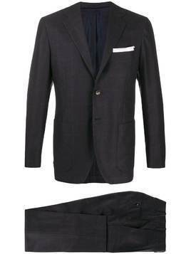 Kiton check print two-piece suit - Blue
