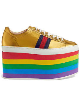 Gucci Metallic platform sneaker - Yellow & Orange