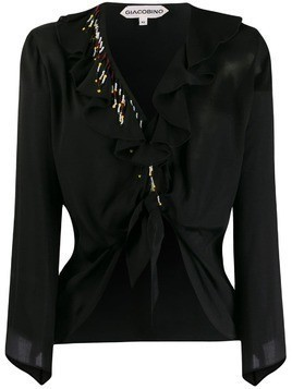 Giacobino bead detail blouse - Black