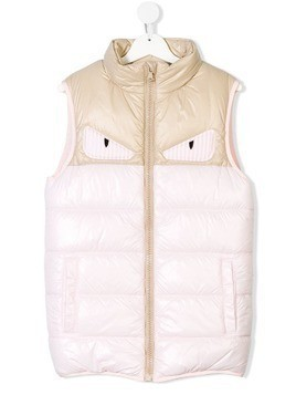 Fendi Kids Bag Bugs eye applique padded gilet - Pink & Purple