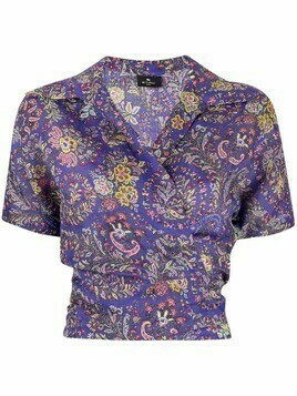 Etro paisley floral wrap top - Purple