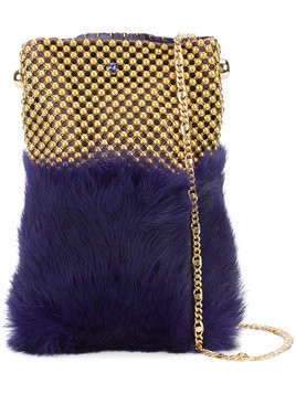 Laura B - soft mobile bag - Damen - Leather/Rabbit Fur/Brass - One Size - Pink & Purple