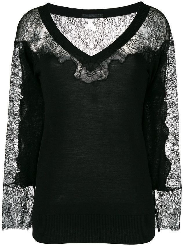 Ermanno Scervino lace panel V-neck blouse - Black
