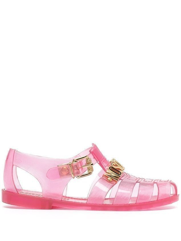 Moschino logo-lettering jelly sandals - PINK