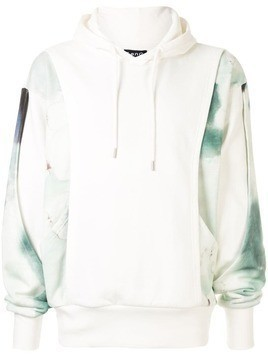 Fengchen Wang layered printed hoodie - White