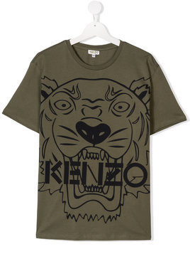 Kenzo Kids TEEN Tiger print T-shirt - Green