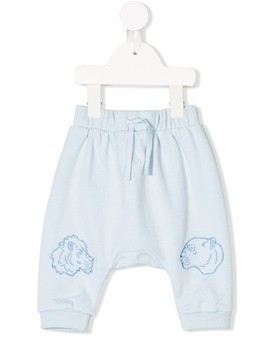 Kenzo Kids lion embroidered trousers - Blue