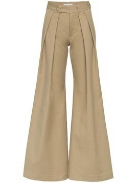 Matthew Adams Dolan pleated flared trousers - Neutrals