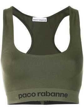 Paco Rabanne logo racer back cropped top - Green