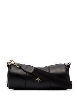 Manu Atelier cylinder logo plaque shoulder bag - Black