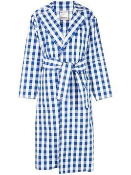 Maison Rabih Kayrouz belted check-pattern trenchcoat - Blue