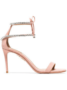 Aquazzura pink crillon 85 suede leather sandals - Pink & Purple