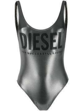 Diesel metallic finish logo detail swimsuit - SILVER