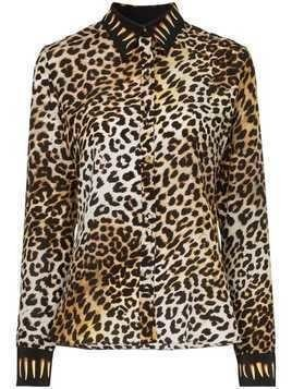 Rockins leopard print silk shirt - Brown