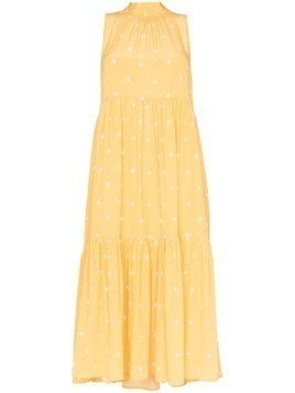 Asceno polka-dot tiered dress - Yellow