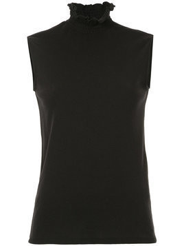 Le Ciel Bleu - frill high neck tank top - Damen - Cotton - 36 - Black