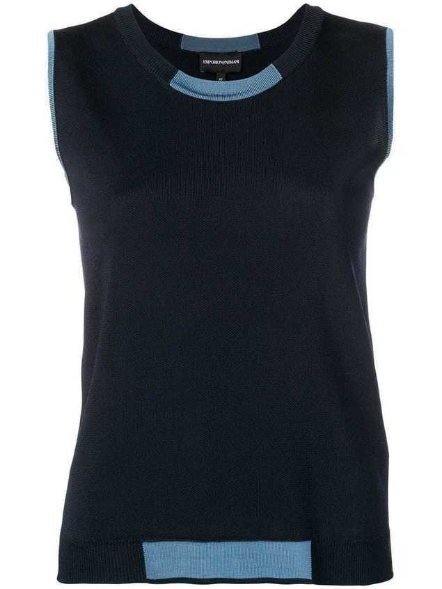 Emporio Armani sleeveless knitted top - Blue
