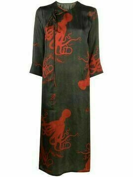 Uma Wang octopus-print wrap dress - Green