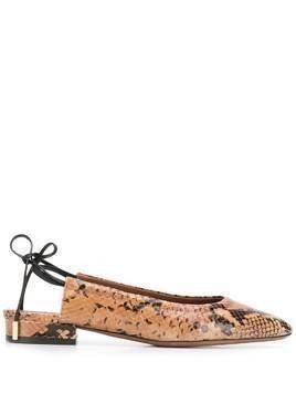 L'Autre Chose snakeskin-effect backless ballerina shoes - Brown