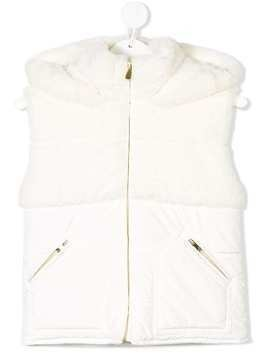 Lapin House faux fur hooded vest - White