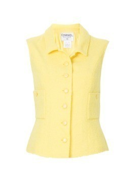 Chanel Vintage sleeveless fitted skirt suit - Yellow&Orange