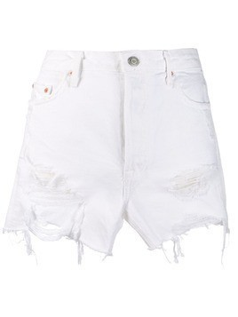 Grlfrnd distressed denim shorts - White