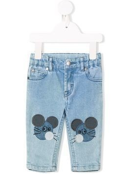 Stella McCartney Kids mouse patch jeans - Blue