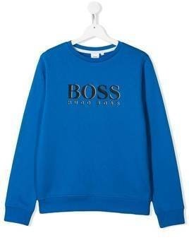 Boss Kids TEEN logo print sweatshirt - Blue