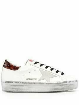 Golden Goose star-patch lace-up sneakers - White