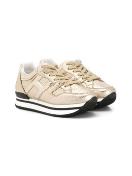 Hogan Kids metallic low-top sneakers - Gold