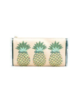 Edie Parker pineapples embroidery clutch - Neutrals