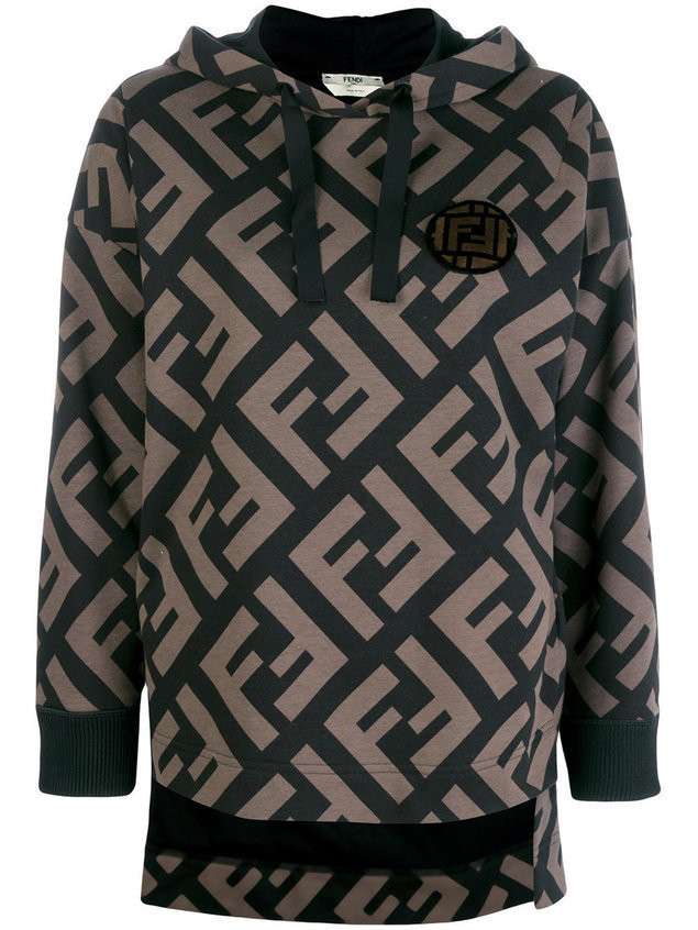 Fendi logo hooded sweatshirt - Brown