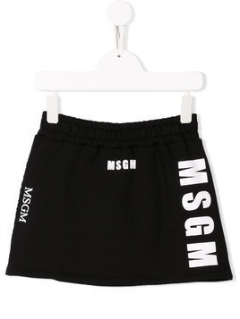 Msgm Kids logo print mini skirt - Black
