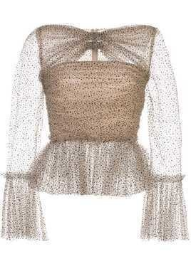 Khaite Joey ruched tulle top - NEUTRALS