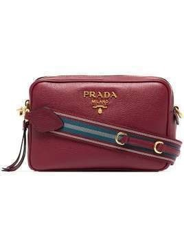 Prada red double zip leather cross-body bag