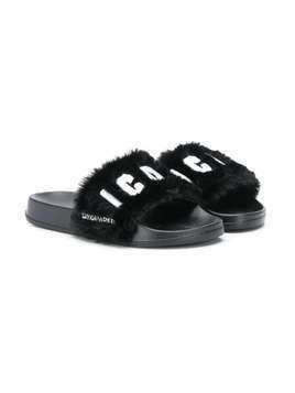 Dsquared2 Kids Icon logo slippers - Black