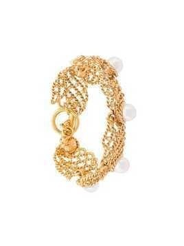 Oscar de la Renta faux pearl net bracelet - Yellow & Orange