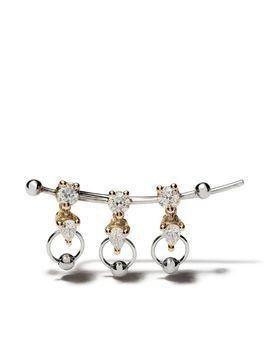Delfina Delettrez 18kt white and yellow gold Two in One diamond earring - Yellow Gold/White Gold