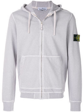Stone Island logo patch zipped hoodie - Grey