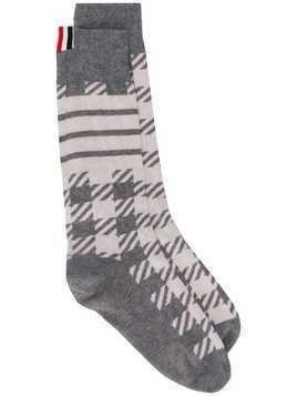Thom Browne Gun Club Check Cashmere Socks - Grey