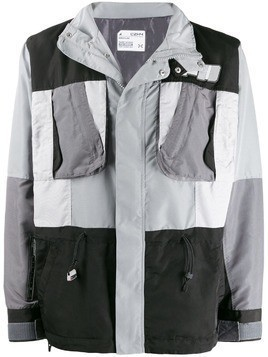 C2h4 colour-block jacket - Grey