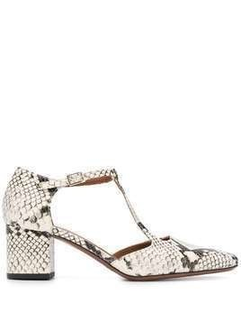 L'Autre Chose snakeskin effect T-bar pumps - White