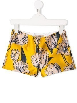 Hucklebones London floral embroidered shorts - Marigold / Navy
