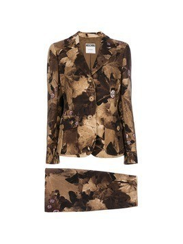 Moschino Vintage leaf print skirt suit - Brown