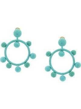 Oscar de la Renta silk ball hoop clip-on earrings - Blue
