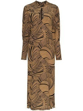 De La Vali Jane dizzy print keyhole silk dress - Brown